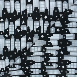 Cotton fabric - City scene Superheroes wear masks x 10 cm