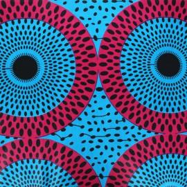 Tissu wax Jebia - bleu x 10cm