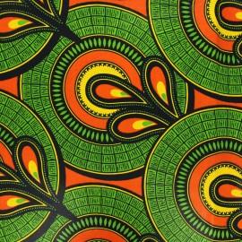 Wax print fabric - green Sakan x 10cm