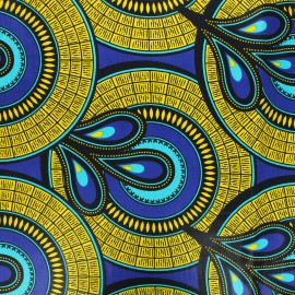 Wax print fabric - yellow Sakan x 10cm