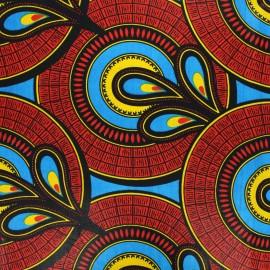 Wax print fabric - red Sakan x 10cm