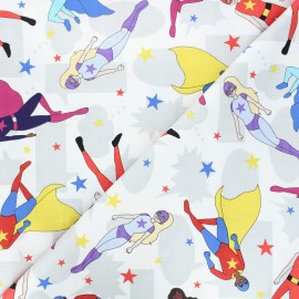 Tissu coton Heroes wear masks - Tossed Superheroes x 10 cm