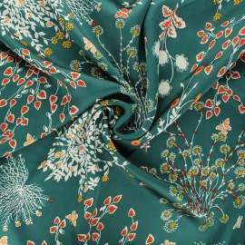Print polyester satin fabric - green Floraison printanière x 10cm