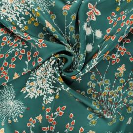 Tissu satin polyester Floraison printanière - vert x 10cm