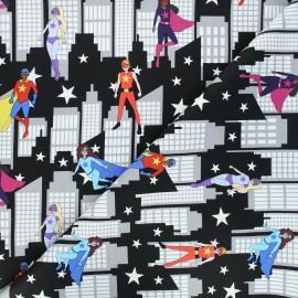 Tissu coton Heroes wear masks - City Scene With Superheroes x 10 cm