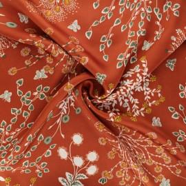 Tissu satin polyester Floraison printanière - terracotta x 10cm