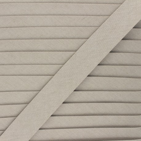 Biais lin 18 mm - taupe - Bobine de 20 m