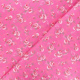 Petit Pan cotton fabric - pink Pivoine x 10cm