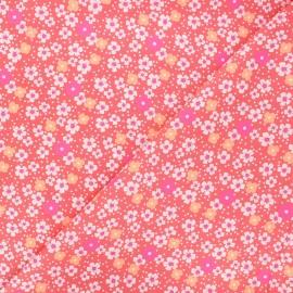 Petit Pan cotton fabric - sand pink Fleurs des îles x 10cm