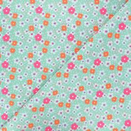 Petit Pan cotton fabric - aqua green Fleurs des îles x 10cm