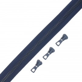 Zip by the meter with 3 sliders - navy blue Grand classic
