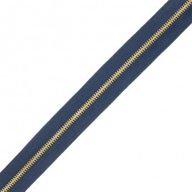 Brass zip by the meter without sliders - navy blue