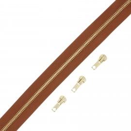 Brass zip by the meter with 3 sliders - hazelnut