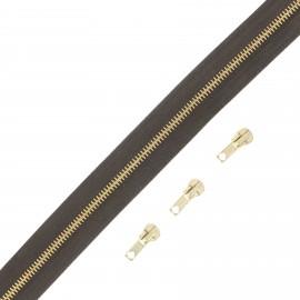 Fermeture Eclair® au mètre laiton (3 curseurs) - marron
