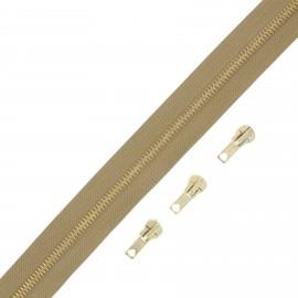 Brass zip by the meter with 3 sliders - bronze