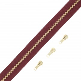 Brass zip by the meter with 3 sliders - burgundy