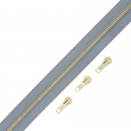 Brass zip by the meter with 3 sliders - grey blue