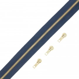 Brass zip by the meter with 3 sliders - navy blue
