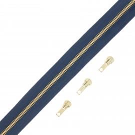 Fermeture Eclair® au mètre laiton (3 curseurs) - bleu marine