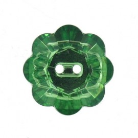 Button, crystal flower - green