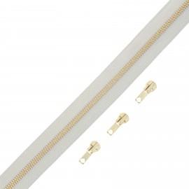 Fermeture Eclair® au mètre laiton (3 curseurs) - gris