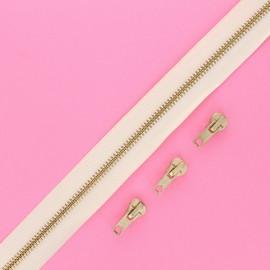 Fermeture Eclair® au mètre laiton (3 curseurs) - écru