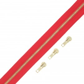 Brass zip by the meter with 3 sliders - red