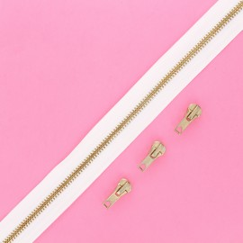 Brass zip by the meter with 3 sliders - white