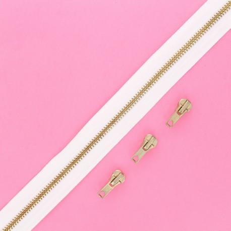 Fermeture Eclair® au mètre laiton (3 curseurs) - blanc
