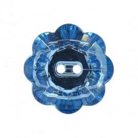 Bouton Fleur Crystal azur