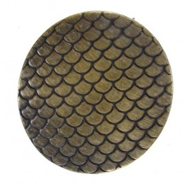 Metal button, rounded shaped, Mermaid - bronze