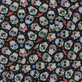 Tissu jersey Calaveras - noir x 10cm