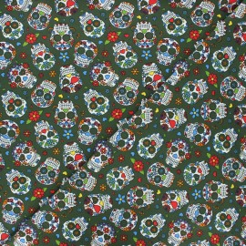 Printed jersey fabric - khaki green Calaveras x 10cm