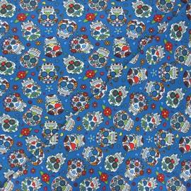 Printed jersey fabric - blue Calaveras x 10cm