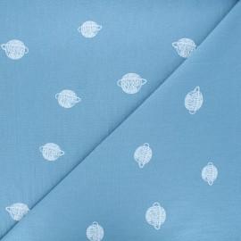 Tissu coton lavé Cosmos - bleu houle x 10cm