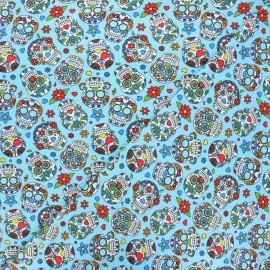 Printed jersey fabric - sky blue Calaveras x 10cm