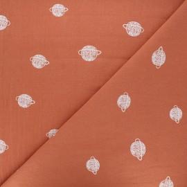 Tissu coton lavé Cosmos - abricot x 10cm