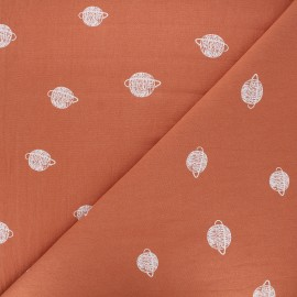 Washed cotton fabric - apricot Cosmos x 10cm