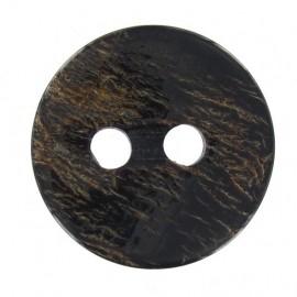 Wooden varnished button - dark brown