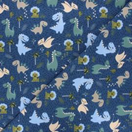 Printed jersey fabric - navy blue Happy dino x 10cm