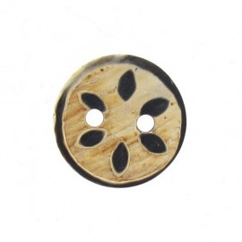 Wooden aspect button with petals in relief - natural