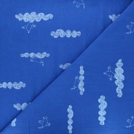 Tissu coton lavé Peace maker - bleu roi x 10cm