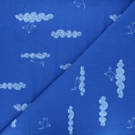 Washed cotton fabric - roy blue Peace maker x 10cm