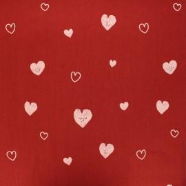 Tissu coton lavé Hearts - rouge x 10cm