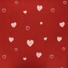 Washed cotton fabric - red Hearts x 10cm