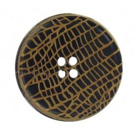 Wooden aspect button, croco - bronze