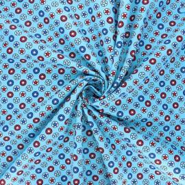 Tissu coton popeline Heroic stars - bleu clair x 10cm