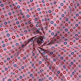 Tissu coton popeline Heroic stars - rose clair x 10cm