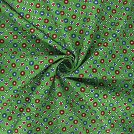 Tissu coton popeline Heroic stars - vert x 10cm