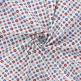 Tissu coton popeline Heroic stars - blanc x 10cm